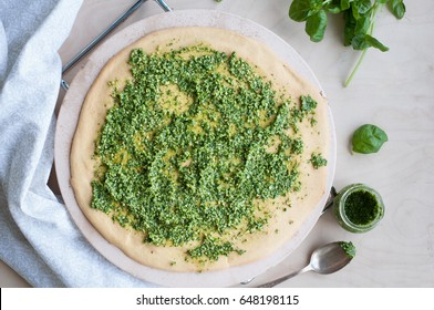 Chickpea Pizza with Pesto