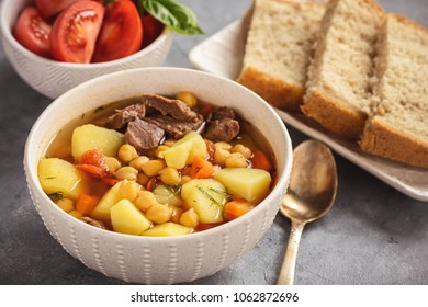 Chickpea soup with meat, asian cuisine.