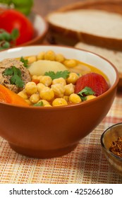Chickpea Soup with Meatballs. Selective focus.