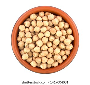 chickpeas in bowl isolated on white background. healthy food