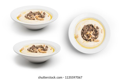 Chickpeas with spiced meat Lebanese Hummus, Set of Hummus with meat, Clipping Path Included