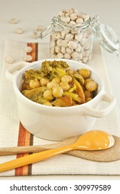 chickpeas vegetables curry cooking pot broccoli tomato cooked legume vegetarian and vegan food