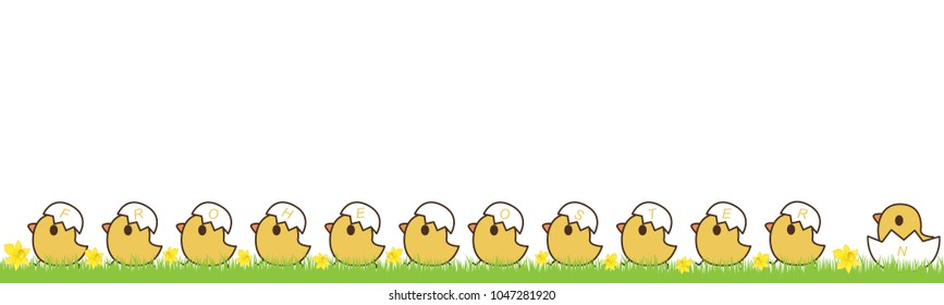 Chicks with eggshells and german text for Happy Easter, isolated on white