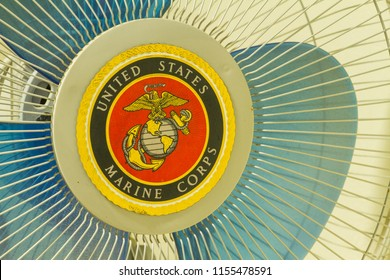 Chiclayo. Peru - 27/07/2018: shield of the body of Marines of the United States of North America, struck in a fan