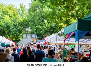 Chico, Ca / USA - 9/7/19: Crowd shopping at farmers market in california, fresh produce at local marketplace, late summer fruit and vegetables
