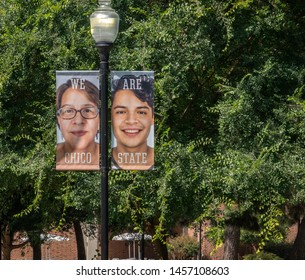 Chico, California - July 9, 2019:  Banners of people from all walks of life are displayed on lamp posts at California State University, Chico, as a symbol of cultural diversity.