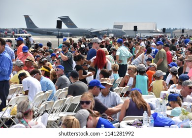 CHICOPEE, MA - JUL 14: Crowd at the 2018 Great New England Airshow at Westover Air Reserve Base in Chicopee, Massachusetts, as seen on July 14, 2018.