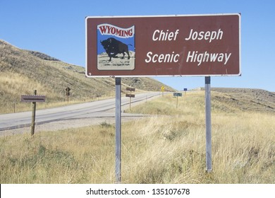 Chief Joseph Scenic Highway sign along a highway