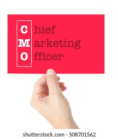 Chief Marketing Officer explained on a card held by a hand