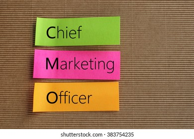 Chief Marketing Officer text on colorful sticky notes
