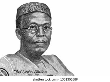 Chief Obafemi Awolowo portrait on Nigeria 100 naira banknote, Nigerian money. Close Up UNC Uncirculated - Collection.