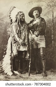 Chief Sitting Bull and Buffalo Bill 1885 when the former Hostile Sioux Chief joined the show. Sitting Bull negotiated a favorable contract for performing with BUFFALO BILLS WILD WEST: $50 a week; all