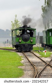 Chiemsee, Munich, Germany September 1, 2014: The steam train that is used to transport tourists from the train station to the ferries on Lake Chiemsee.