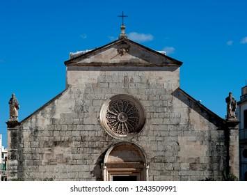 The Chiesa Madonna della Greca, a late Romanesque church that dates back t the fourth century in the town of Locorotondo in the region of Puglia, southern Italy.