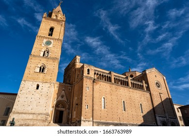 Chieti, Abruzzo, Italy - February, 15, 2019: View of the cathedral of San Giustino in the historic center of the city