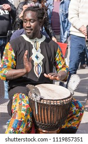 Chieti, Italy - 08 April 2018: African percussionist plays on the street during a city festival