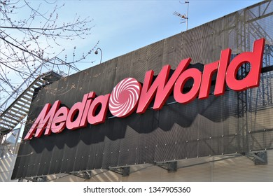 Chieti, Italy . March 2019. Close up of a MediaWorld store. Brand name written in the roof of the building.