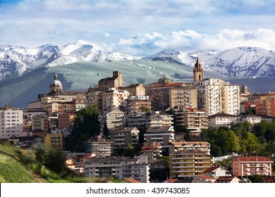 chieti, one of the capitals of Abruzzo photographs with the background of Majella