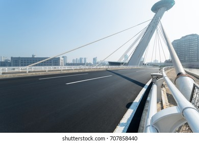 Chifeng bridge with tianjin city skyline scenery,China.