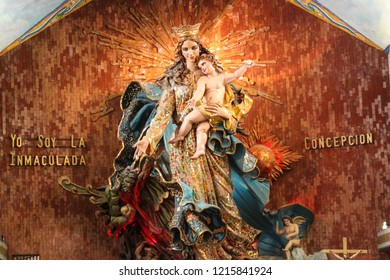 Chignahuapan, Puebla, México. 19/06/2018. Monumental sculpture of 12 meters high, of the Virgin of the Immaculate Conception in Basilica in Chignahuapan, Puebla. Made between 1960 and 1967