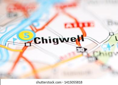 Chigwell. United Kingdom on a geography map