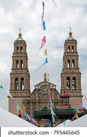 Chihuahua cathedral with festive garlands
