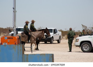 Juárez, Chihuahua, Mexico, 05-05-2021, border patrol agents in the United States carry out tests with heat chambers with which they monitor the Mexico-United States border