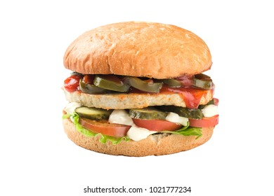 Chiken burger isolated on a white background