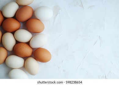 Chiken eggs on a white background. Eggs. Chiken Copyspace