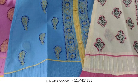 Chiken embroidery fabric for sale in the local market in Lucknow in Uttar Pradesh, India.