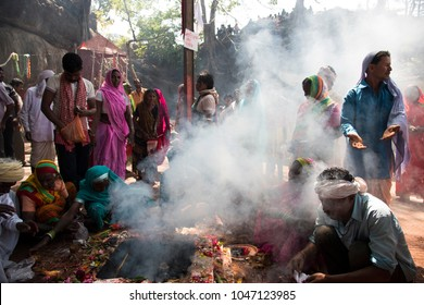 CHIKHALDARA, MAHARASHTRA, INDIA 12 APRIL 2015 : Unidentified Korku tribe people doing religious ceremony in front of their goddess temple, they are scheduled tribe found in region of Maharashtra.