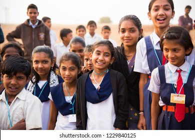 CHIKHALDARA, MAHARASHTRA, INDIA 25 FEBRUARY 2017 : Portrait of unidentified rural school Students on the grounds of their school.