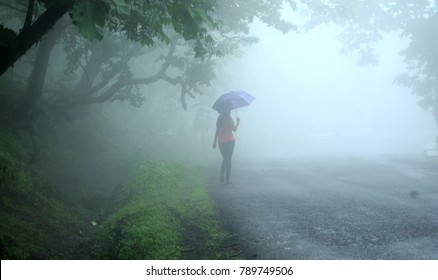 CHIKHALDARA, MAHARASHTRA, INDIA 29 AUGUST 2017 : Unidentified Young female with an umbrella walk on the road in the fog. Travel of women   in the rain. Chikhaldara hill stations,