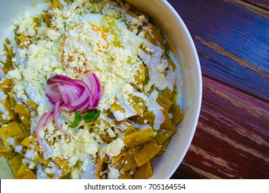 chilaquiles with eggs for breakfast