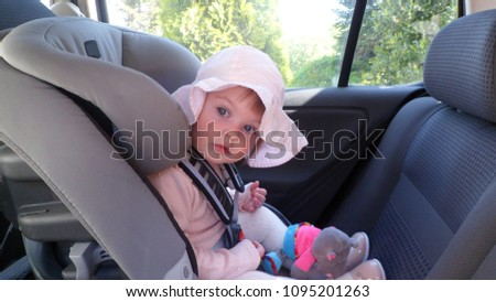 A Child Girl Of 15 Years Old Sits In Car