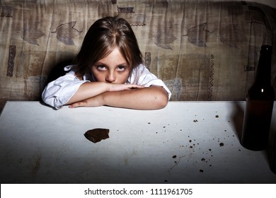 Child abuse. Poor child in slum begging you for help concept for poverty or hunger people,