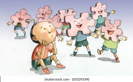 child alone while his companions are far away together as pieces of a puzzle