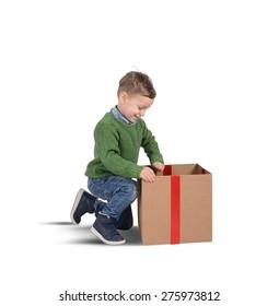 Child amazed by the big magic gift