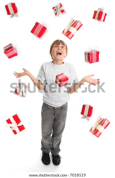 A child in awe at the abundance of gifts falling around him like rain.  Suitable for birthdays or Christmas, etc