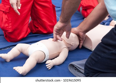 Child or baby first aid training. Cardiopulmonary resuscitation - CPR.