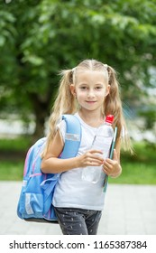 A child with a backpack and a bottle of water. The concept of school, study, education, friendship, childhood
