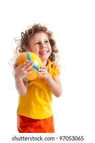 Child with ball, portrait on a white background