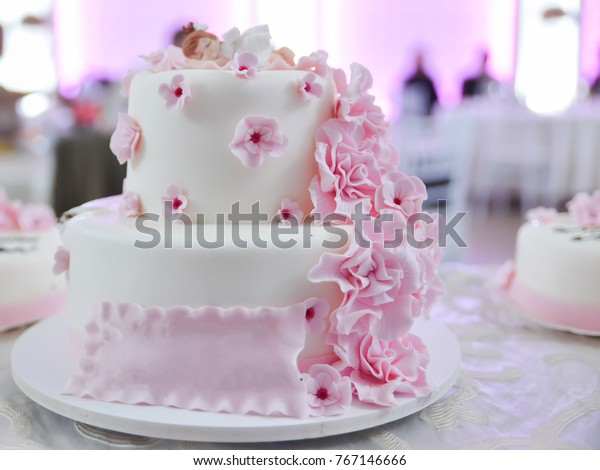 Child Birthday White Cake Pink Floral Stock Photo (Edit Now