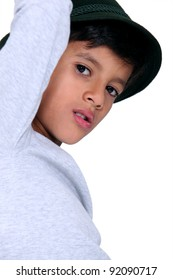 Child with black hat