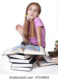 child with book  on white background