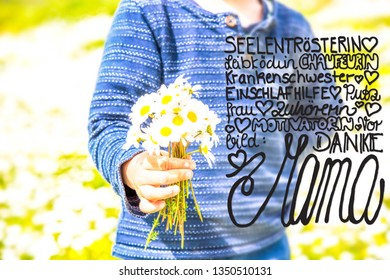 Child, Bouquet Of Daisy Flower, Calligraphy Danke Mama Means Thank You Mom