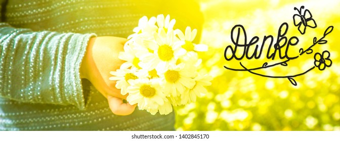 Child, Bouquet Of Daisy Flower, Calligraphy Danke Means Thank You