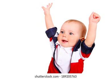 child boy with hands up isolated on a white background