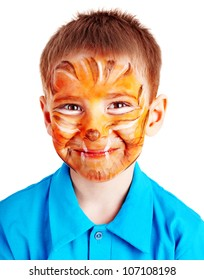 Child boy with paint of face. Make up.