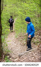 Child boy with a wooden stick on a forest path in the spring time, his father walking in the back ground, back view.
